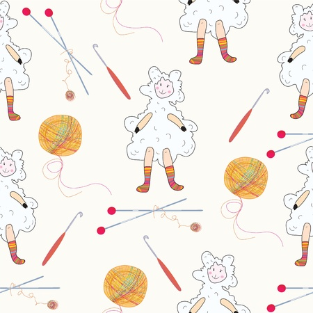 knitting: Knitting seamless with sheeps and balls Illustration
