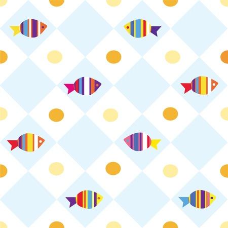 nautilus shell: Fish seamless plaid pattern for kids
