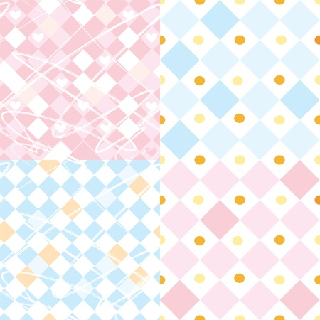 blanket fish: Checkered seamless patterns set for baby Illustration