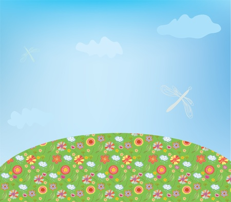 Landscape with flowers and dragonfly Vector