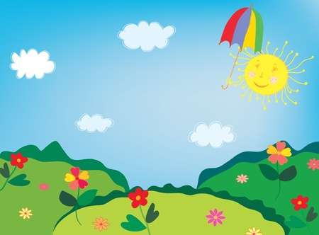Landscape with flowers and funny sun Ilustrace