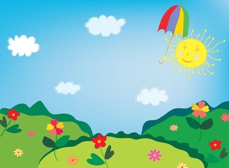 Landschap met bloemen en grappig zon