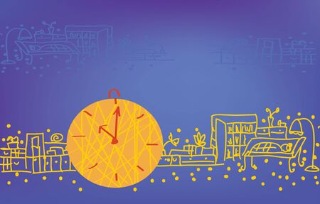 Background with clock and room  Vector