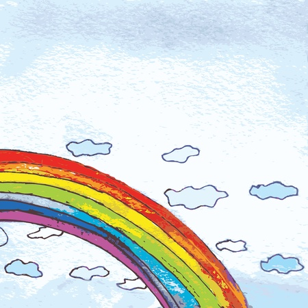 Rainbow in the sky background funny Vector