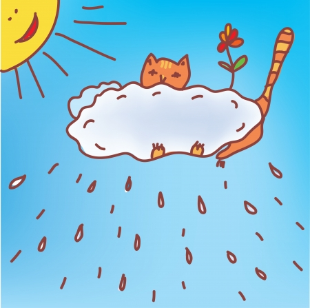 Frame with cat and rain in the sky Vector