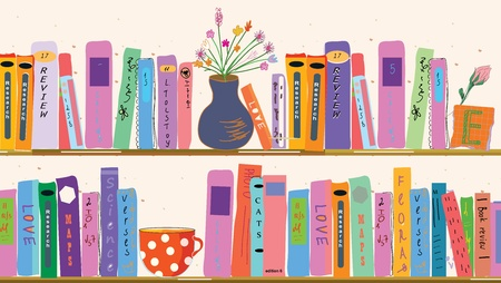 Book shelves at home with vases Vector