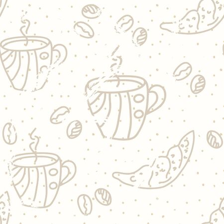 Coffee seamless pattern pastel colors Vector