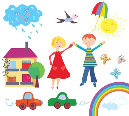 paiting: Children set with objects and nature