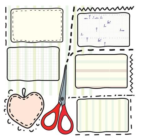 trabajo manual: Cupones y tijeras para la venta y la costura Vectores