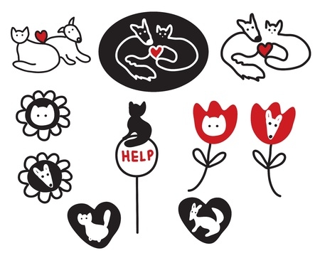 Animal protections and veterinary signs, symbols Vector