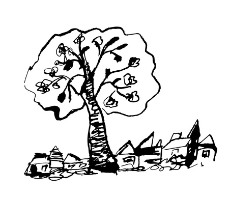 Countryside sketch with tree hand drawn Vector