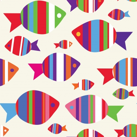 Fishes seamless funny pattern for kids Vector