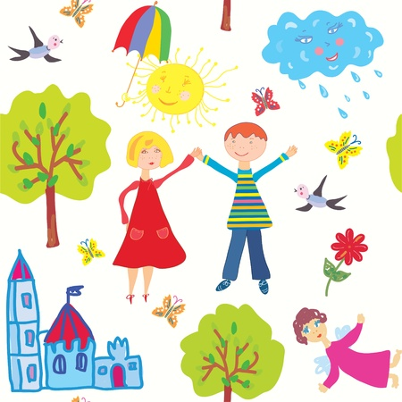 Children world seamless pattern funny Vector