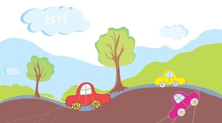 Cars and road background landscape Stock Vector - 14402786