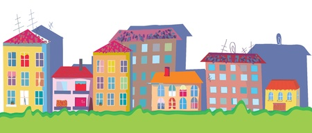 Houses at street funny banner cartoon Vector