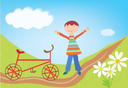 Boy and bicycle outdoorBoy and bicycle outdoor cartoon Vector