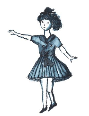 Child girl dancing retro sketch Stock Vector - 14460007