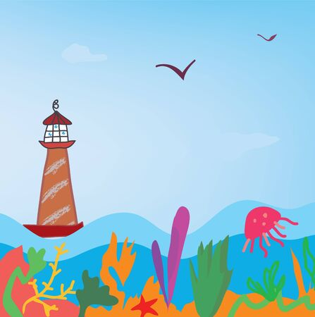 Sea background with lighthouse and algae Vector
