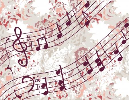 멜로디와 꽃 패턴 음악적 배경