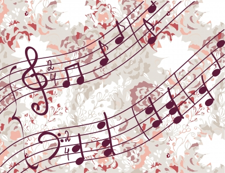 Musical background with melody and floral pattern Vector