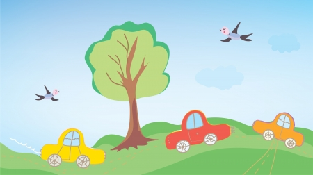 Funny cars for children outdoor cartoon