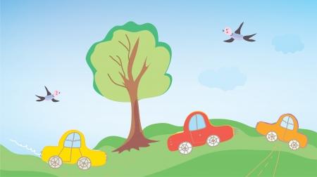 arte callejero: Los coches de dibujos animados divertidos para los ni�os al aire libre