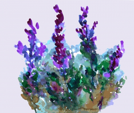 paiting: Floral abstract purple grunge background