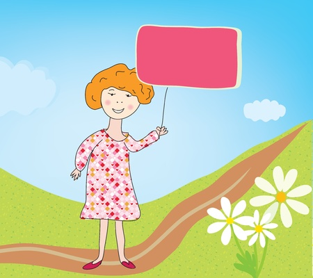 Child girl with banner for text in park Stock Vector - 14583756