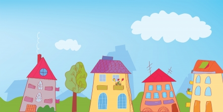 Funny town street background cartoon Vector