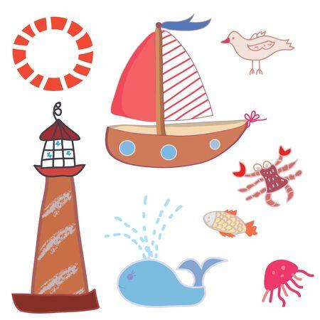 Sea icons funny set cartoons Vector