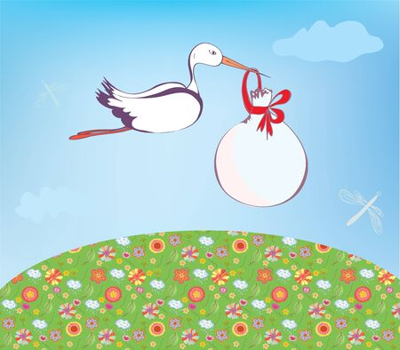 paiting: Stork and baby  outdoor greeting card Illustration