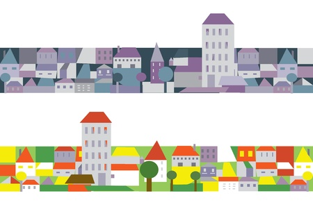 City houses banners funny cartoons Vector