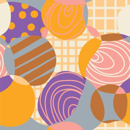 Abstract circles retro seamless pattern sketch style Vector
