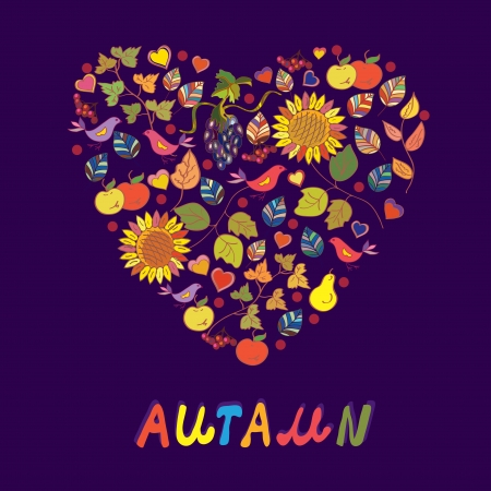 Autumn card with abstract heart of flowers, fruits, birds Vector