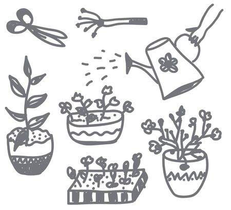 garden center: Flowers gardening doodle with pots, cans and instruments