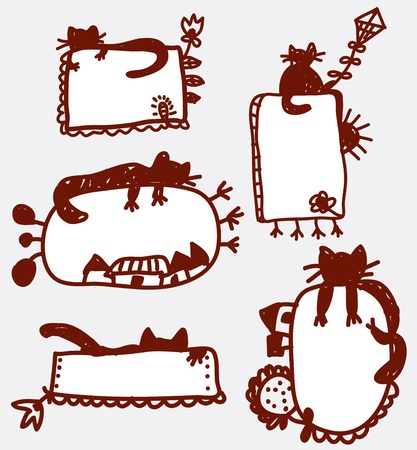Doodle funny frames with cat cartoons Vector