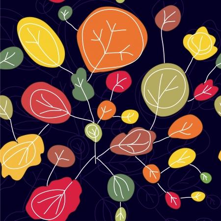 fabric samples: Trees autumn seamless pattern bright Illustration