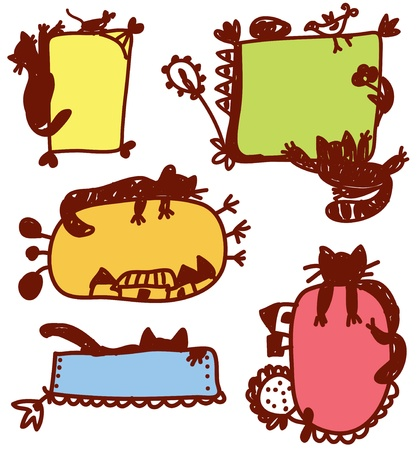 Funny cats frames for children set Vector