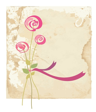 retro postcard: Greeting card with rose flower on paper background