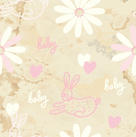 Baby retro seamless background with paper texture Vector