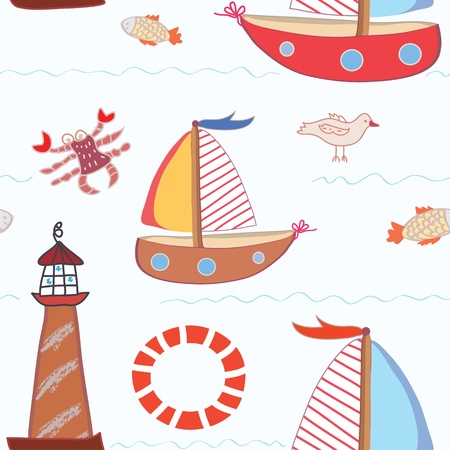 coral bell: Sea travel seamless pattern for kids