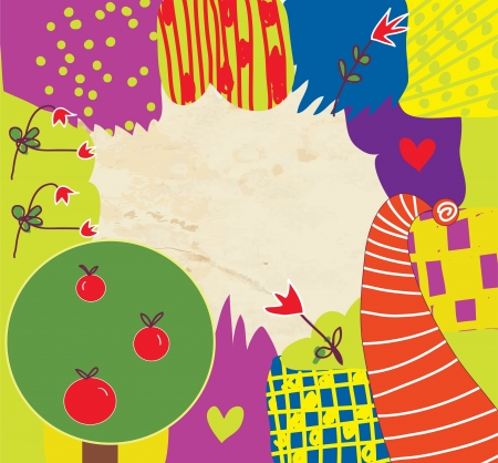 apple border: Abstract kids funny background with flowers and tree