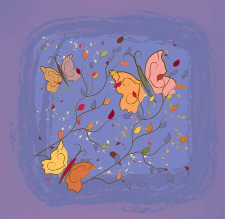 Vintage autumn floral  background with butterfly Vector