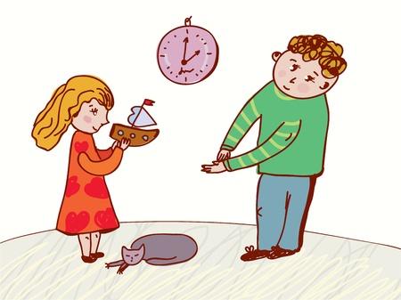 familia animada: Los niños de habla - el comportamiento y la ilustración normas