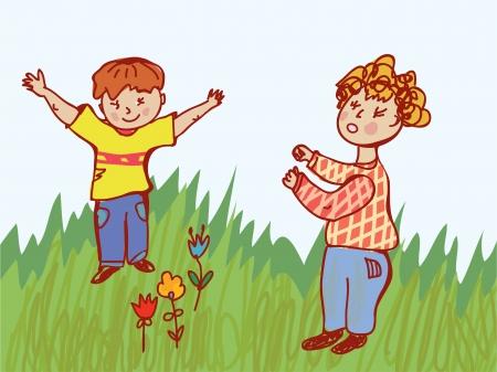 capricious: Children fighting - behavior illustration Illustration