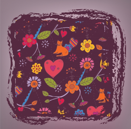 Retro floral background - love and cats Vector
