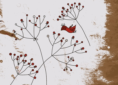 whimsy: Grunge background with birds and flower design Illustration