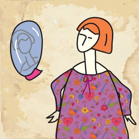 Woman and mirror funny card on paper texture Vector