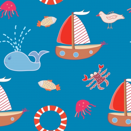 Seamless pattern with boats and sea animals for kids Vector