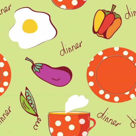 good evening: Food seamless pattern with egg, plate, tea and vegetables